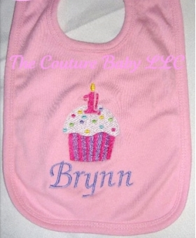 Customized Cupcake Applique Bib with Name