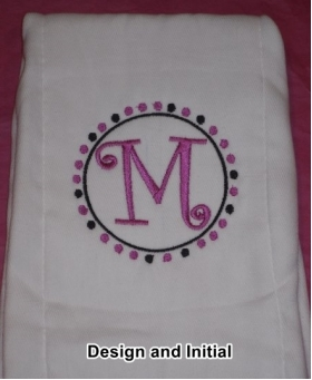 Your Own Burp Cloth with Circular Design and Embroidered Initial