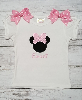 Minnie Mouse Pink & White Polka Dot Personalized Shirt or Onesie
