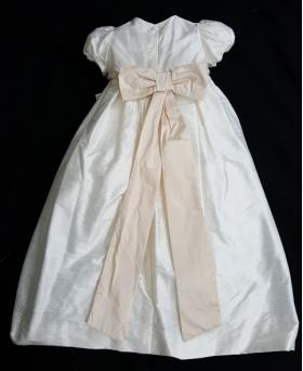 L'Pety Canar Ivory & Blush Silk Cristening Gown & Hat Set (6m)