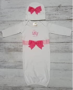 Hot Pink & Light Pink Personalized White Layette Gown & Hat Set