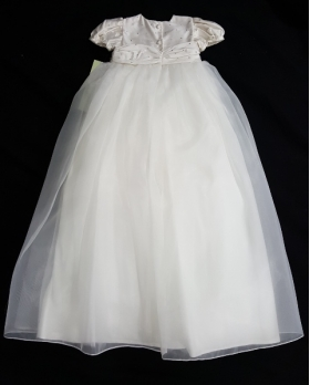 """Christie Helene """"One Of A Kind"""" Ivory Organza Sequin Christening Gown & Hat Set (6m)"""