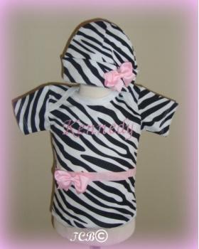 Pink Passion Zebra Personalized Onesie & Hat
