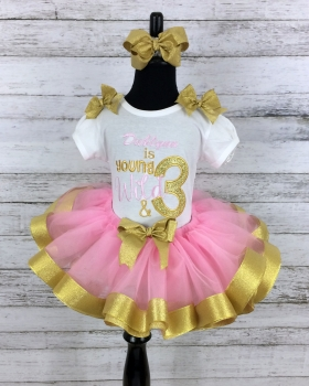 Birthday Young and Wild Personalized Pink & Gold Ribbon Birthday Tutu 3 Pc Set-Tutu-Shirt-Headband 1st 2nd 3rd 4th 5th 6th Birthday