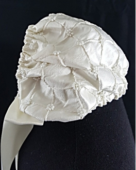 L'Pety Canar Ivory Silk Juliette Style Christening Gown & Hat Set