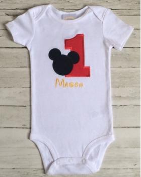1st Birthday Twin Set Mickey & Glitter Minnie Onesie
