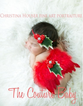 1st CHRISTMAS BABY RED Holly Berry Newborn Red Feather Angel Wings & Headband Photo Prop Set