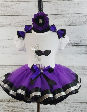 Masquerade Glitter Mask Mardi Gras Purple Black & Silver Personalized Birthday Ribbon Tutu 3 Piece Set