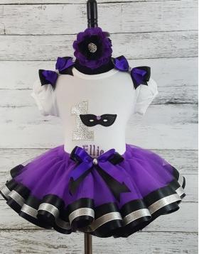 Masquerade Glitter Mask Mardi Gras Purple Black & Silver Personalized Birthday Ribbon Tutu 3 Piece Set