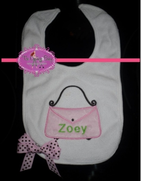 Customized Bag Applique Bib with Name and Bow