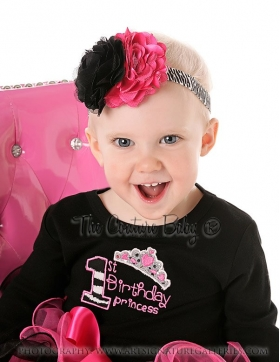 First Birthday Princess Zebra Onesie or Top Choice of Color