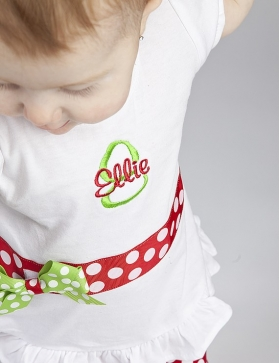 Embroidered Shirt with Name, Initial, Ribbon and Bow