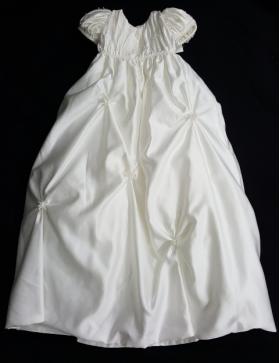 "Christie Helene ""Jasmine"" Ivory Pin Tucked Pearl Beaded Christening Gown 4 Pc Set-(6m)"
