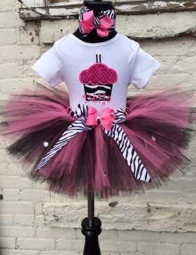 Cupcake Zebra Bling Personalized Hot Pink & Black Tutu Set