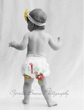 Embroidered Phrase and age Diaper Cover with bows