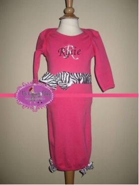 Hot Pink Lots of Bows Personalized Layette Gown