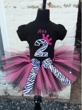 Princess Zebra Hot Pink & Black Personalized Tutu Set