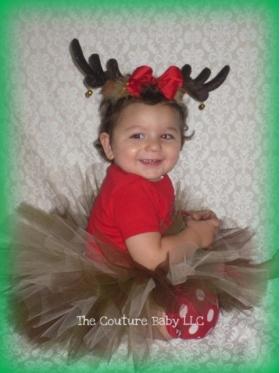 Reindeer Antlers & Tutu Christmas 2 Pc Set