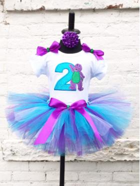 Barney Purple & Teal Glitter Birthday Tutu 3 Pc Personalized Set Age 1 2 3 4 5