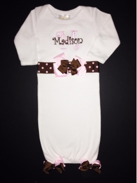 Personalized Layette Gown with Ribbon Trim and bows on waist and bottom