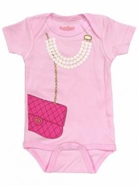 My First Pearls & Purse Pink Onesie