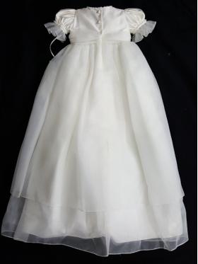 Christie Helene LillyAnna Ivory Organza Christening Gown & Hat Set Crystal & Ostrich Feather Hat (6m)