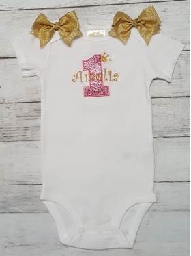 1st Birthday Personalized Gold and Pink Glitter Crown Tiara Princess Onesie Bodysuit