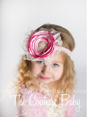The Vintage Pink Lady Handcrafted Flower, Pearls & Lace Feather Headband
