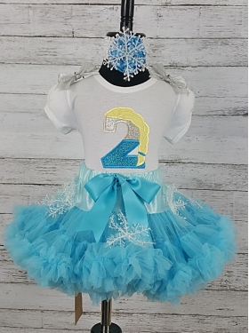 Elsa Frozen Glitter Personalized Birthday Age Shirt & Snowflake Petti Skirt 3 Piece Set