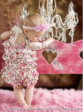 Pink Satin Floral Shabby Chic Petti Romper