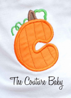 Pumpkin Patch Personalized Initial Ruffle Bottom Halloween Onesie
