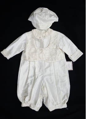 Boy's Christening Set Ivory Knicker Style & Hat