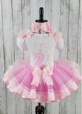Pink & White Lace Personalized Birthday Princess Ribbon & Lace Tutu 3 Piece Set