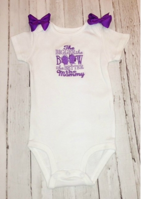Embroidered Onesie with Phrase and Bows