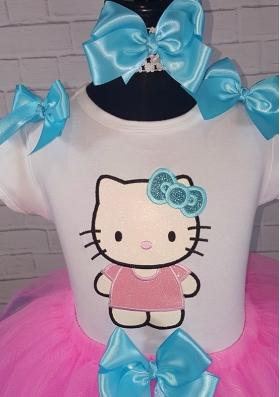 HELLO KITTY Glitter Pink-Turquoise Ribbon Tutu Personalized 3 Piece. Set