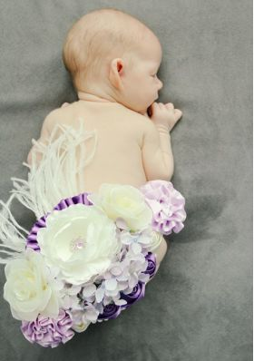 Purple & Lavender Flower Maternity & Baby Sash