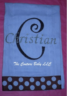 Your Own Burp Cloth with Embroidered Name, Initial and Ribbon