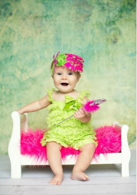 "Hot Pink & LIme ""Strawberry Limeade"" Feather & Flower Headband"