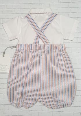 Boy 2 Pc. Seersucker Pin Stripe Romper & Shirt