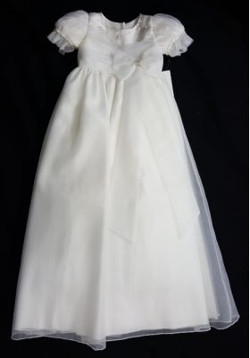Christie Helene Ivory Organza Crystals & Bead Bow Christening Gown (6 months)