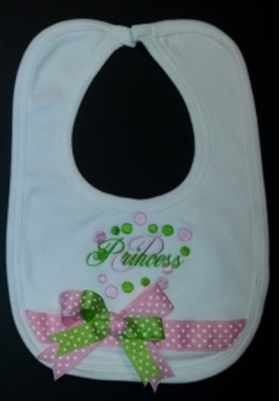 Customized Embroidered Bib with Bubble Design, Princess Phrase, Initial, Ribbon and bow