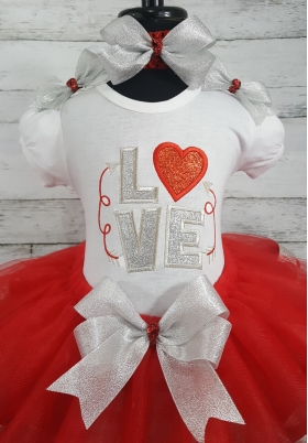 Valentine Red & Silver Glitter & Sparkle LOVE Ribbon Tutu 3 Piece Set