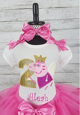 Peppa Pig Hot Pink Personalized Birthday Shirt & Ribbon Tutu 3 Piece Set