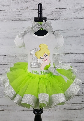 TinkerBell  Birthday Personalized Name & Age Green and Silver Ribbon Tutu 3 Piece Set