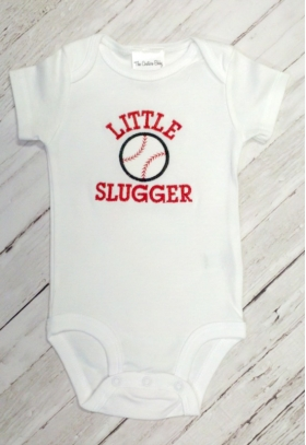 "Layette with Baseball Design and ""Little Slugger"" Phrase"