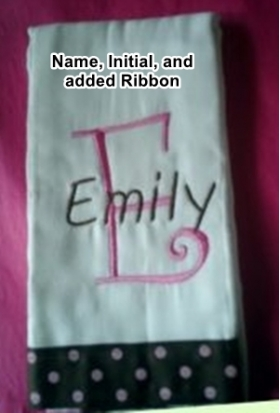 Your Own Burp Cloth with Name, Initial, and added Ribbon