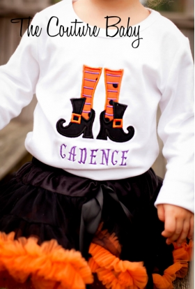 Witch Shoes & Stockings Personalized Halloween Shirt or Onesie