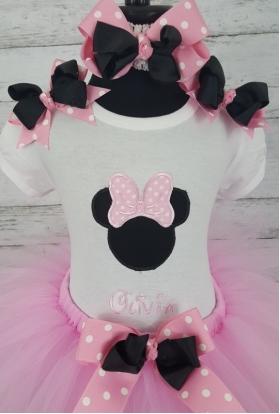 Minnie Pink & White Dot Personalized 3 Pc Tutu Set