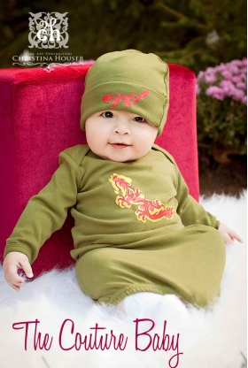 Dragon Boys Green Layette Gown & Hat Set