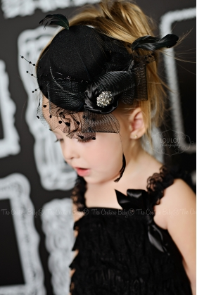 "Black Feather & Flower ""Night at the Roxbury"" Top Hat"